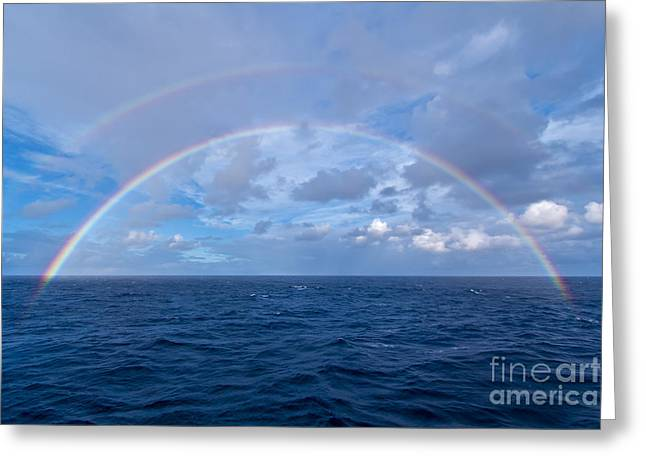 Double Rainbow Over The Atlantic Ocean Greeting Card by Alan Dyer