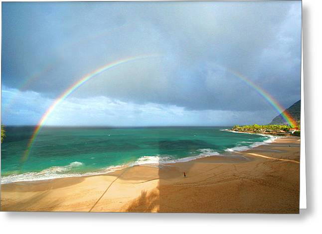 Double Rainbow Greeting Cards - Double Rainbow Over Turtle Beach Greeting Card by Vicki Hone Smith