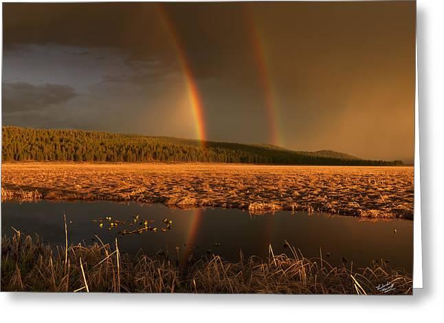 Secondary Rainbow Reflection Greeting Card by Leland D Howard