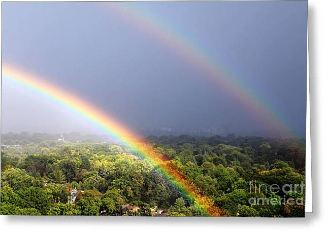 Rainbow Greeting Cards - Double Rainbows Greeting Card by Charline Xia