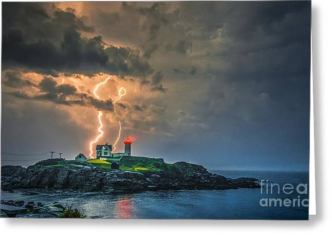 Maine Lighthouses Greeting Cards - Double Strike Greeting Card by Scott Thorp