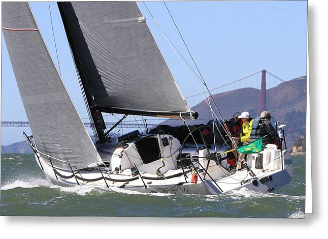 Sailboat Photos Greeting Cards - Double Trouble 2013 Greeting Card by Steven Lapkin