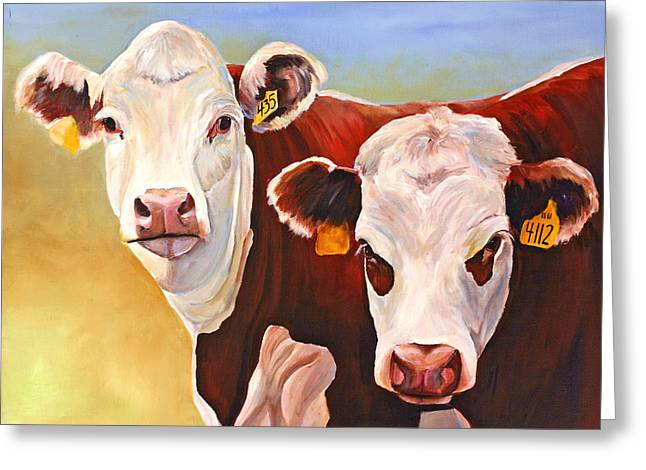 Hereford Greeting Cards - Double Trouble Hereford Cows Greeting Card by Toni Grote