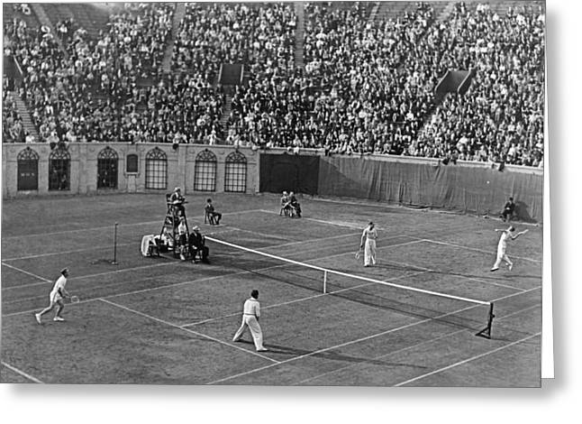Association Of Tennis Professionals Greeting Cards - Doubles Tennis At Forest Hills Greeting Card by Underwood Archives