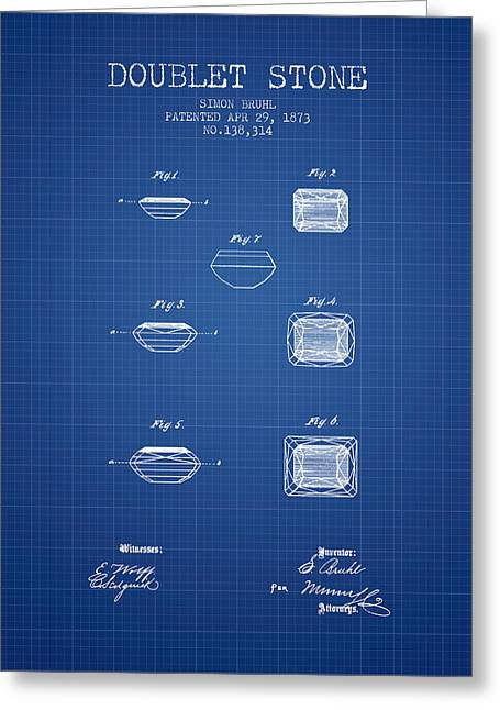 Diamond Ring Greeting Cards - Doublet Stone Patent From 1873 - blueprint Greeting Card by Aged Pixel