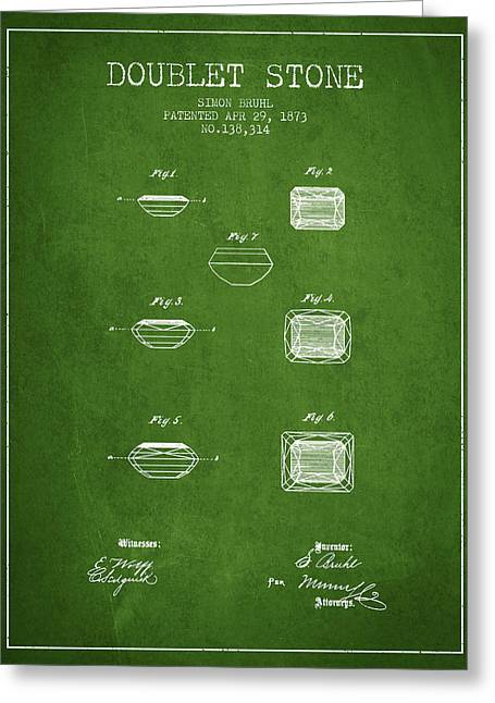 Necklace Drawings Greeting Cards - Doublet Stone Patent From 1873 - green Greeting Card by Aged Pixel