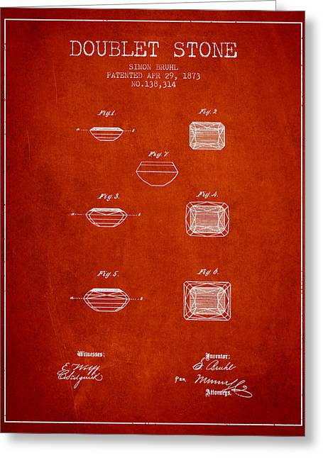 Jewelry Drawings Greeting Cards - Doublet Stone Patent From 1873 - Red Greeting Card by Aged Pixel