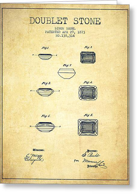 Necklace Drawings Greeting Cards - Doublet Stone Patent From 1873 - vintage Greeting Card by Aged Pixel