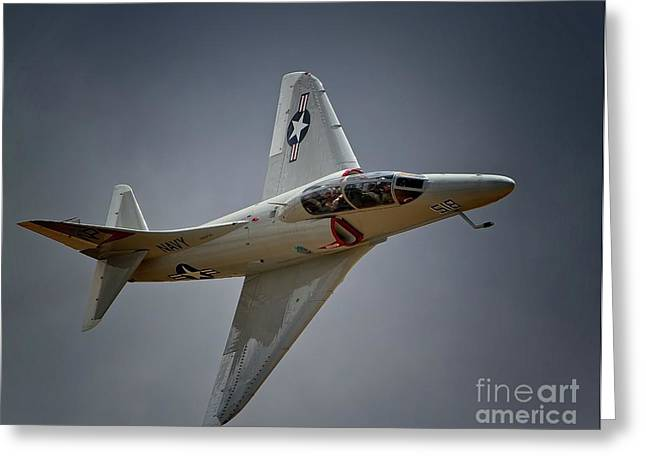 Jester Greeting Cards - Douglas A4 Skyhawk 2011 Chino Planes of Fame Air Showe Greeting Card by Gus McCrea