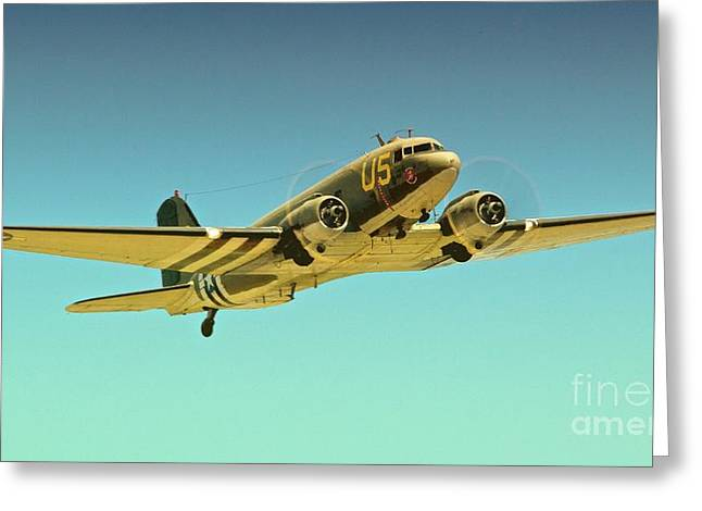 Planes Of Fame Greeting Cards - Douglas C-47 2011 Chino Air Show Greeting Card by Gus McCrea