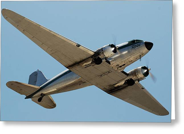 Douglas Dc-3 Rose At Hawthorne Greeting Card by Brian Lockett