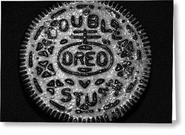 Doulble Stuff Oreo In Black And White Greeting Card by Rob Hans