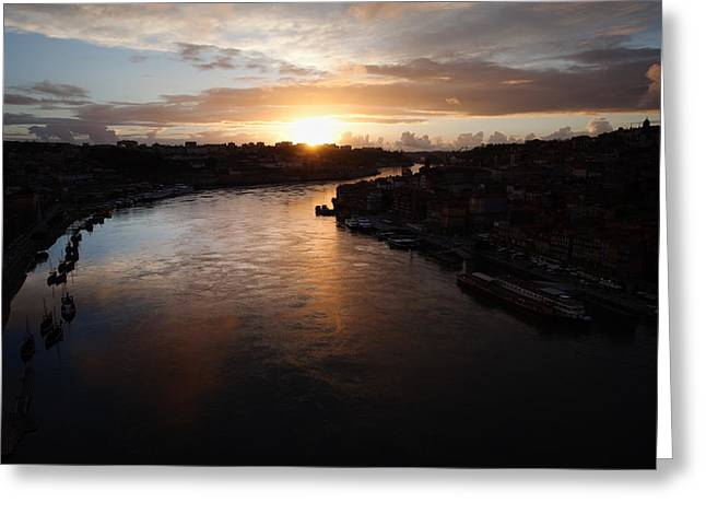 Peaceful Scenery Greeting Cards - Douro River at Sunset in Portugal Greeting Card by Artur Bogacki
