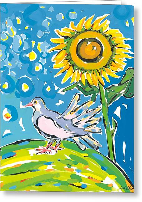 Yellow Sunflower Greeting Cards - Dove and sunflower Greeting Card by Sarah Gillard