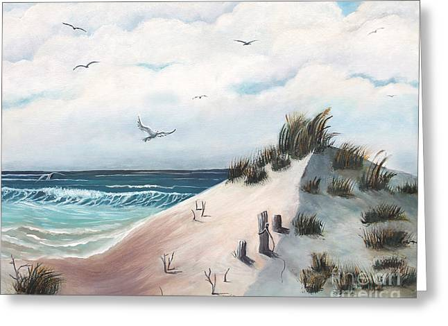 Entryway Paintings Greeting Cards - Dove Lands on Dunes Greeting Card by Sabrina K Wheeler