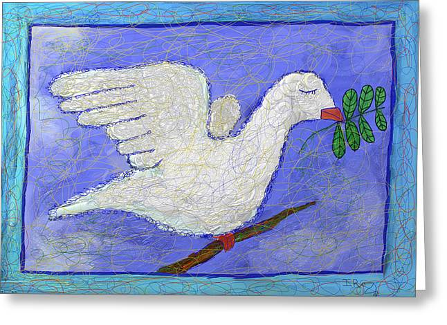Simchat Torah Greeting Cards - Dove with Olive Branch -Greeting card Greeting Card by Ian Roz