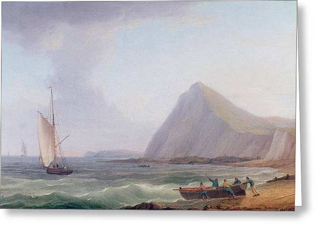 Sailboats Docked Greeting Cards - Dover Cliffs Greeting Card by Thomas Whitcombe