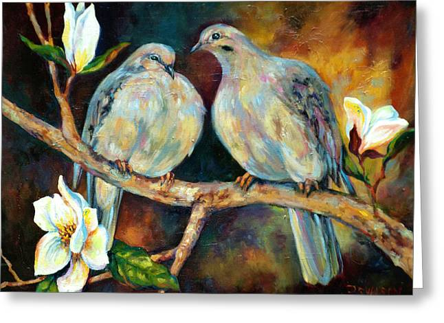 Doves Paintings Greeting Cards - Doves and Magnolia Greeting Card by Peggy Wilson