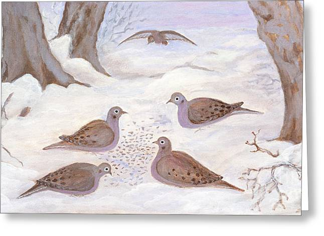 Polscy Malarze Greeting Cards - Doves in New York - Winter Greeting Card by Anna Folkartanna Maciejewska-Dyba