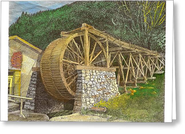 Grist Mill Drawings Greeting Cards - Dowlin Water Wheel Greeting Card by Jack Pumphrey