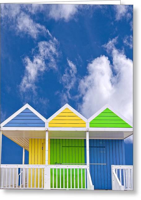Beach Hut Greeting Cards - Down At The Beach Greeting Card by Meirion Matthias