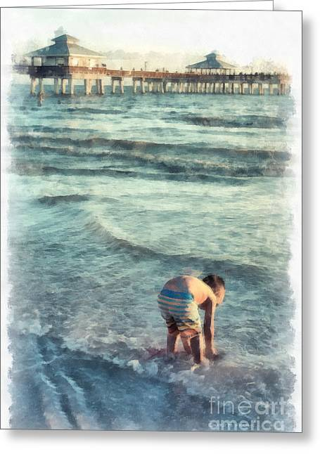 Down At The Shore Watercolor Greeting Card by Edward Fielding