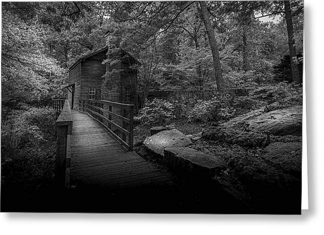 Wooden Building Greeting Cards - Down By The Mill-bw Greeting Card by Marvin Spates