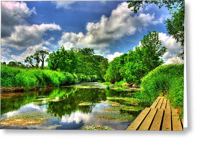 River View Mixed Media Greeting Cards - Down by the Riverside Greeting Card by Kim Shatwell-Irishphotographer