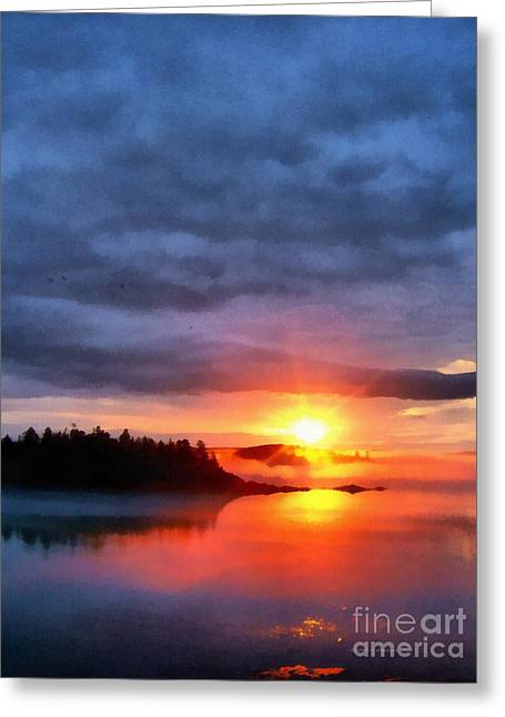 Down East Sunset Maine Greeting Card by Edward Fielding