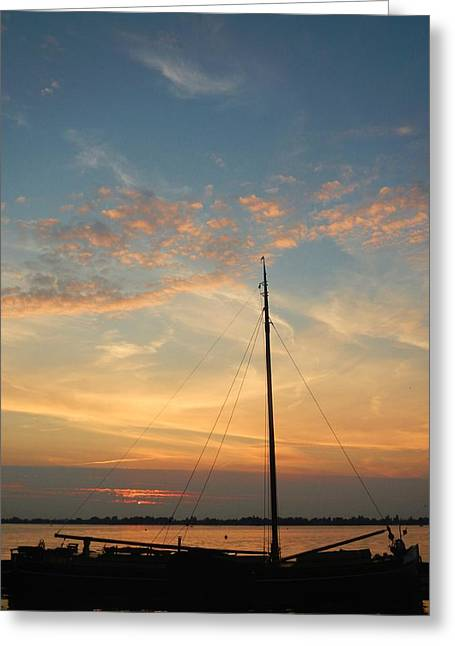 Docked Sailboats Greeting Cards - Down for the Day Greeting Card by Danica Stewart
