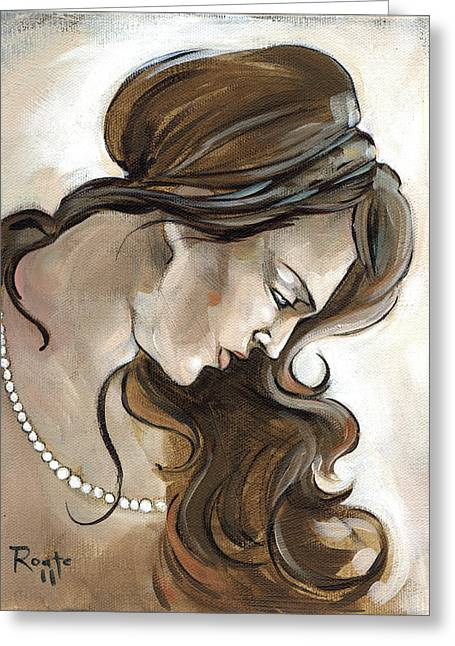 Woman Head Greeting Cards - Down Greeting Card by Jacque Hudson