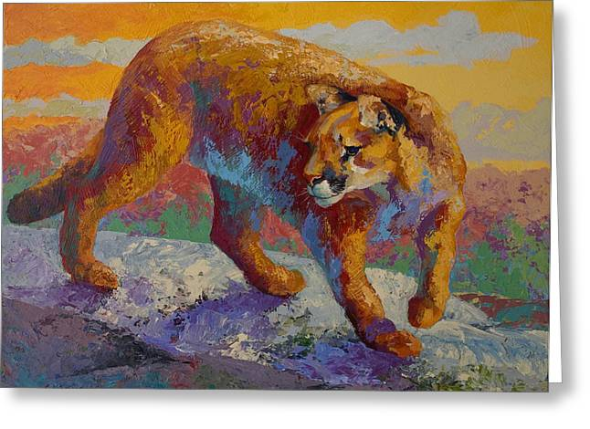 Down Off The Ridge - Cougar Greeting Card by Marion Rose