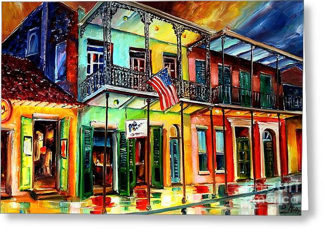 Quarter Greeting Cards - Down on Bourbon Street Greeting Card by Diane Millsap