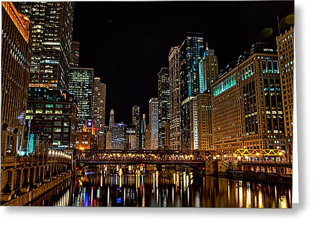 Downtown Franklin Greeting Cards - Down the Chicago River Greeting Card by Raf Winterpacht