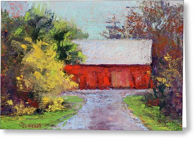 Leading Pastels Greeting Cards - Down the County Road Greeting Card by Joyce A Guariglia