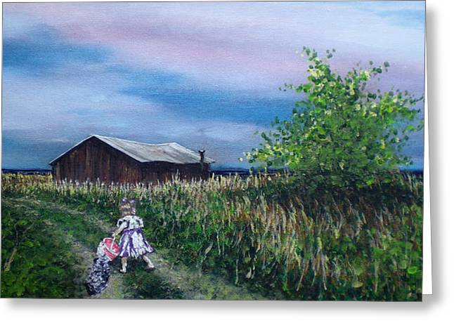 Down The Lane Greeting Card by Bill Brown
