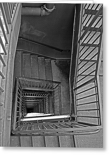 Vertigo Digital Art Greeting Cards - Down the Stairwell - Black and White Greeting Card by Steve Ohlsen