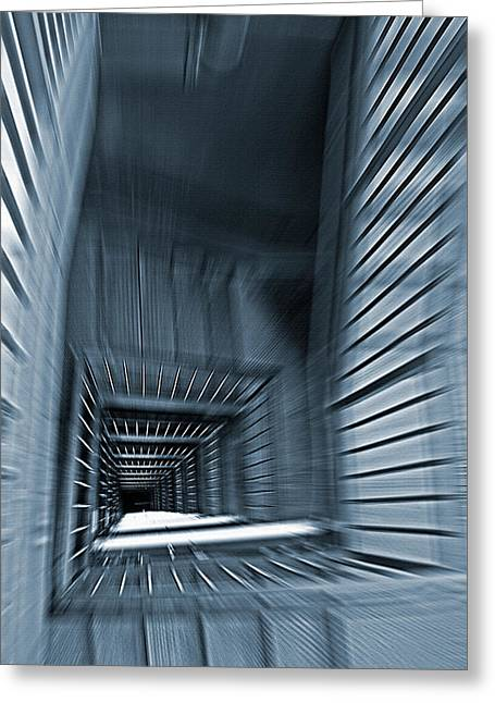 Vertigo Digital Art Greeting Cards - Down the Stairwell Zoom - Cyan Greeting Card by Steve Ohlsen