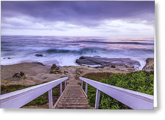 California Ocean Photography Greeting Cards - Down the Steps Greeting Card by Joseph S Giacalone
