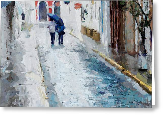 Old San Juan Mixed Media Greeting Cards - Down The Street Greeting Card by Charlie Roman