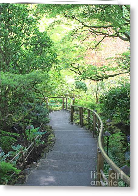 Butchart Gardens Greeting Cards - Down to the Garden Greeting Card by Carol Groenen