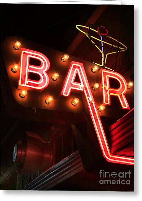Saloons Greeting Cards - Down Town Bar Greeting Card by Chris  England