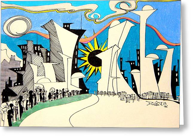 Denny Casto Greeting Cards - Down Town Greeting Card by Denny Casto