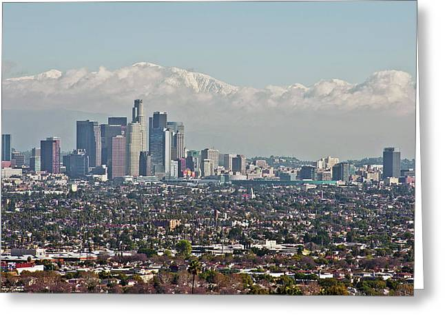 Down Town Los Angeles Greeting Cards - Down Twon Los Angeles in Winter Greeting Card by Lee Chon
