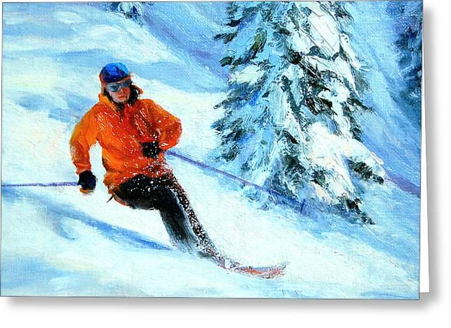 Ski Art Greeting Cards - Downhill Racing Greeting Card by DJ Lanzendorfer