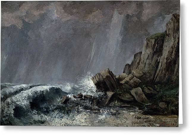 Storm. Rain. Oil On Canvas Greeting Cards - Downpour at Etretat  Greeting Card by Gustave Courbet