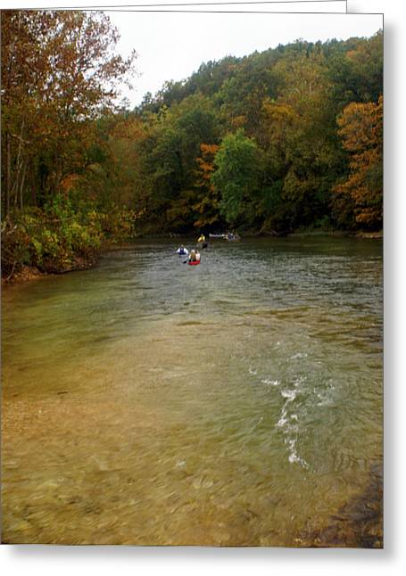 Current River Greeting Cards - Downstream Greeting Card by Marty Koch