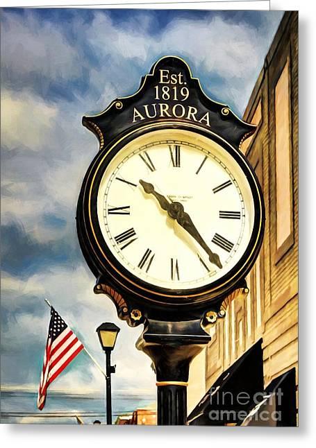 Downtown Aurora Indiana Greeting Card by Mel Steinhauer