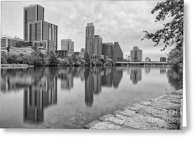 Downtown Austin In Black And White Across Lady Bird Lake - Colorado River Texas Hill Country Greeting Card by Silvio Ligutti