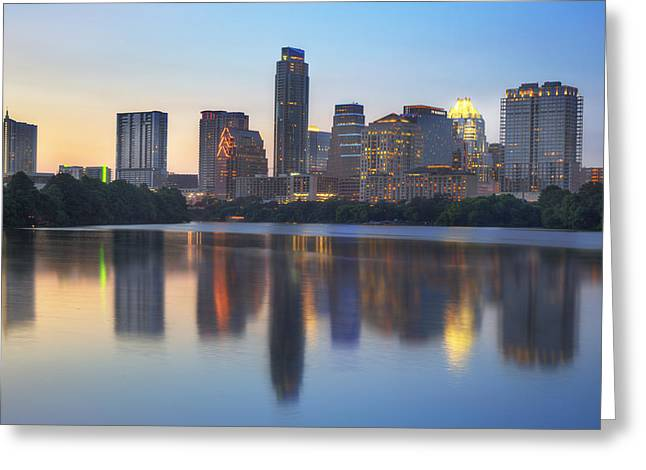 Downtown Austin Greeting Cards - Downtown Austin Skyline on a July Evening Greeting Card by Rob Greebon